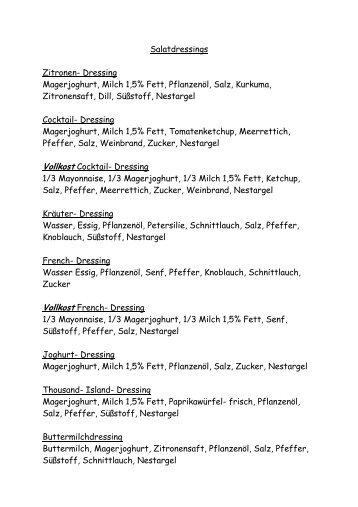 Salatdressings - Rehazentrum Klinik Borkum Riff