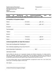 Antrag auf Bewilligung von Aufwendungsbeihilfe ... - Reichenbach