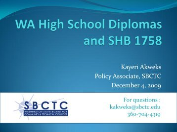 WA High School Diplomas and SHB 1758 - Washington State Board ...