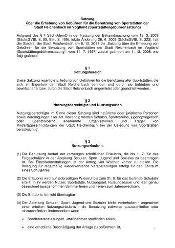 Sportstättengebührensatzung- 1- - Reichenbach