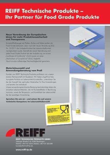 Flyer Food Grade Produkte – Kunststoffe (2013) - REIFF Technische ...