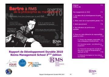 Rapport DD RMS 2010 - Reims Management School
