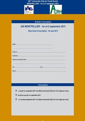 IAS MONTPELLIER - 1er et 2 septembre 2011