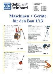 Maschinen und Geräte für den Bau