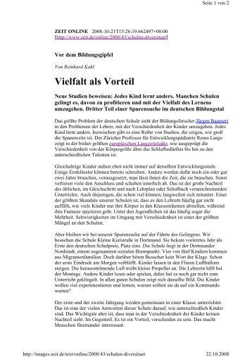 ZEIT online Vielfalt als Vorteil - Reinhard Kahl