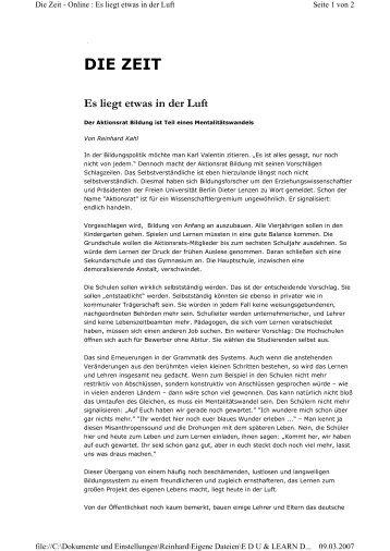 Es liegt was in der Luft ZEIT-online 1 - Reinhard Kahl