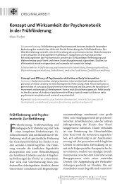 Konzept und Wirksamkeit der Psychomotorik in der Frühförderung