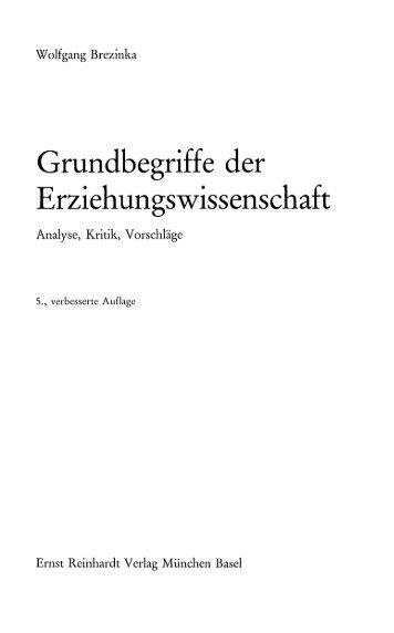 Grundbegriffe der Erziehungswissenschaft - Ernst Reinhardt Verlag