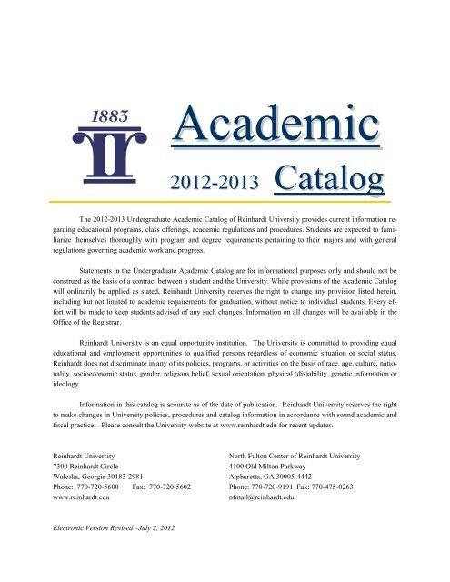 Academic Catalog - Reinhardt University