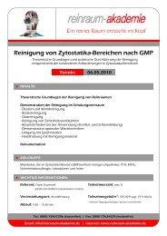Reinigung von Zytostatika-Bereichen nach GMP - Reinraum Akademie
