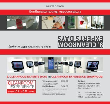 9. cleanroom experts days - Reinraum-Akademie