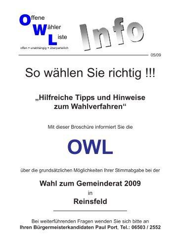 können Sie die Wahlinformationen Ausgabe 2 der OWL ... - Reinsfeld