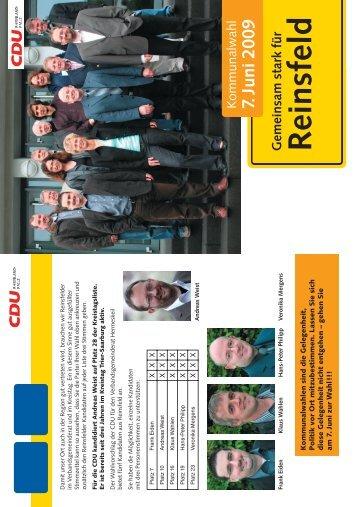 können Sie das Wahlprogramm 2009 des CDU ... - Reinsfeld