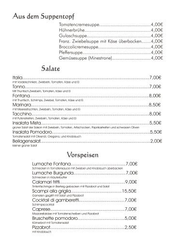 Aus dem Suppentopf Vorspeisen Salate - Reinsfeld