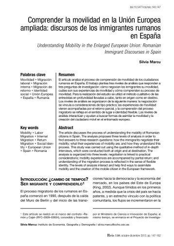 article - Reis - Revista Española de Investigaciones Sociológicas