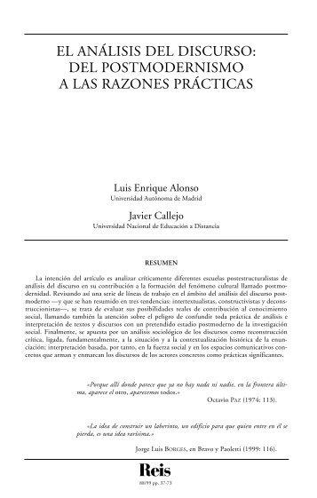 El análisis del discurso: del postmodernismo a las razones ... - Dialnet