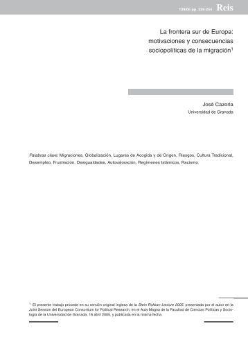 La frontera sur de Europa: motivaciones y consecuencias ... - Dialnet