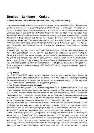 Breslau – Lemberg – Krakau - Reise-Service G. Reiner, Friedberg