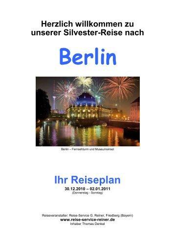 Ihr Reiseplan - Reise-Service G. Reiner, Friedberg