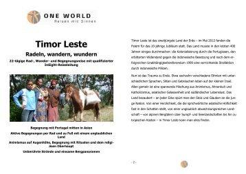 Detailinformation Timor Leste - Radeln, wandern und wundern 2013