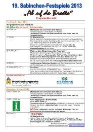 Sabinchenfest 2013 - Tourismusverband Fläming eV