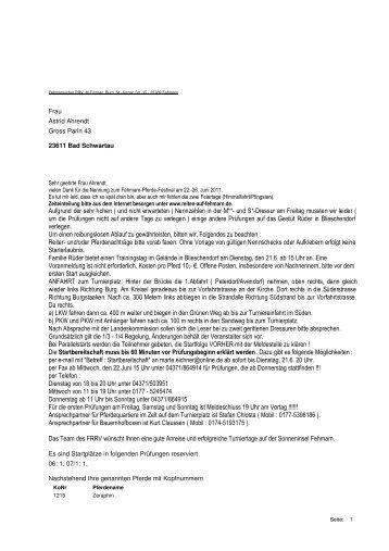 Reiterbrief Juni 2011 - Reiten auf Fehmarn e.V.