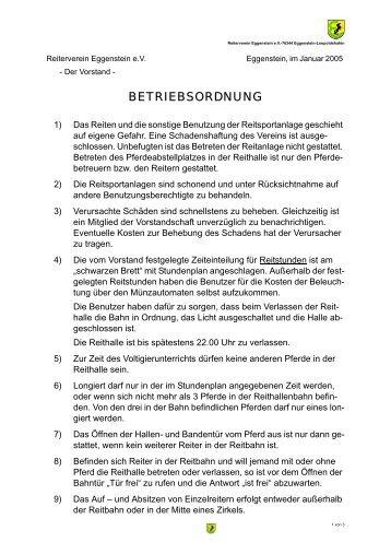 Betriebsordnung neu 2005.fm - beim Reiterverein Eggenstein eV