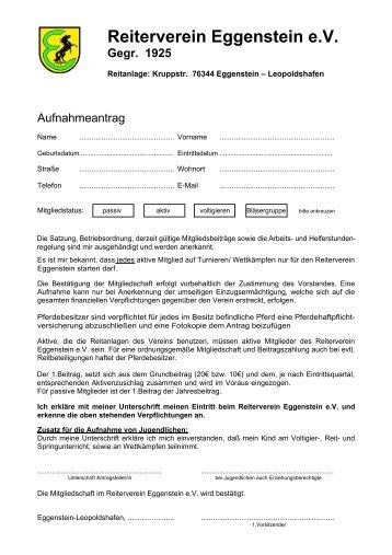 Einzugsermächtigung - beim Reiterverein Eggenstein eV