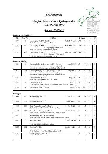 Zeiteinteilung Großes Dressur- und Springturnier 28./29.Juli 2012