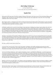 »Die Heilige Erfahrung« Kapitel Eins