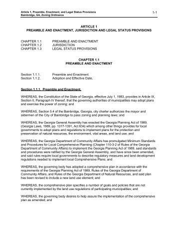 ARTICLE 1 Preamble and Enactment - City of Bainbridge, Georgia
