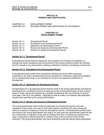 Article 16 Permits and Certificates - City of Bainbridge, Georgia