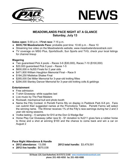Pace Night at a Glance - Meadowlands Racetrack
