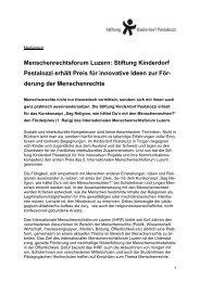 Stiftung Kinderdorf Pestalozzi erhält Preis für ... - Religion CH