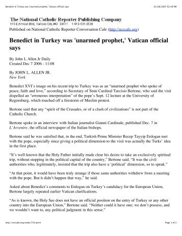 Benedict in Turkey was 'unarmed prophet,' Vatican official says