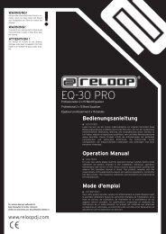 Bedienungsanleitung Operation Manual Mode d'emploi - Reloop