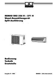 REMKO RKS 326 H – 371 H  W and-Raum klim agerät Split ...