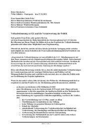 Volksabstimmung zu S21 und die Verantwortung der Politik