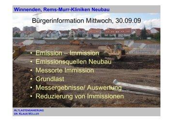 Darstellung Emissionen/Imissionen (1 MB) - Rems Murr Kliniken ...