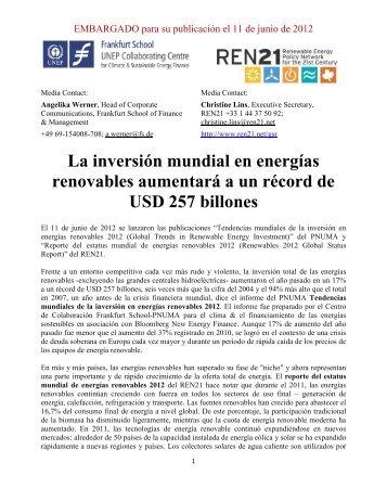 Tendencias mundiales de la inversión en energías renovables 2012