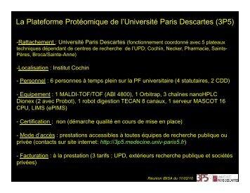 La Plateforme Protéomique de l'Université Paris ... - RENa2P