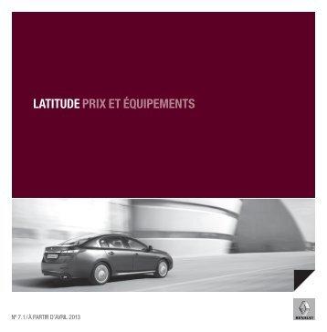 LATITUDE PRIX ET ÉQUIPEMENTS - Renault