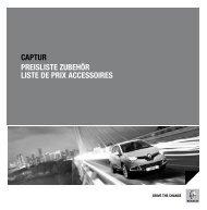 CAPTUR PReislisTe ZUbehöR lisTe de PRix ACCessoiRes - Renault