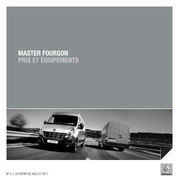 MASTER FOURGON PRIX ET ÉQUIPEMENTS - Renault