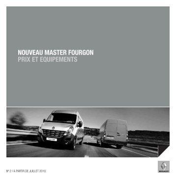 NOUVEAU MASTER FOURGON PRIX ET EQUIPEMENTS - Renault