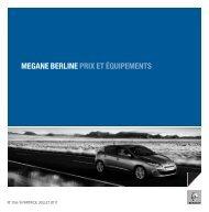 MEGANE BERLINE PRIX ET ÉQUIPEMENTS - Renault