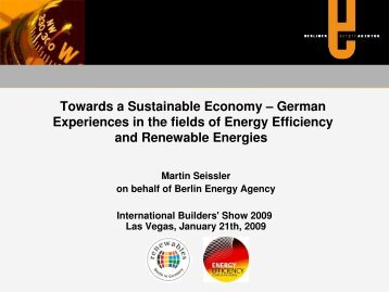 Towards a Sustainable Economy - Renewables Made in Germany