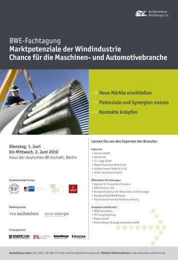 BWE-Fachtagung Marktpotenziale der Windindustrie Chance für die ...