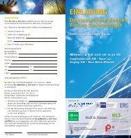 EINLADUNG Deutsch-Italienisches Forum Solarenergie Intersolar ...