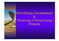 Wind Energy Development & Financing of Wind Energy Projects
